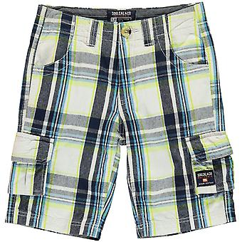 SoulCal Kids Checked Cargo Shorts Bottoms Pantalon Junior Boys Six Pockets Design
