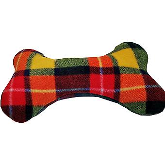 Lilypond Crafts Fleecy Dog Bone Squeaky Toy Cushions Multicolour Check