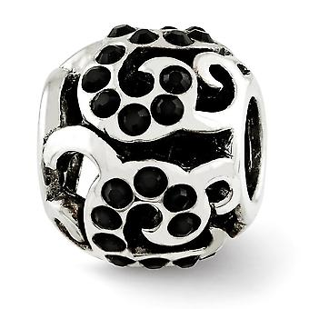925 Sterling Silver Polished Antique finish Reflections Black Crystal Swirl Bead Charm