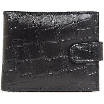 Mens Leather Crocodile Effect Wallet with Multiple Features