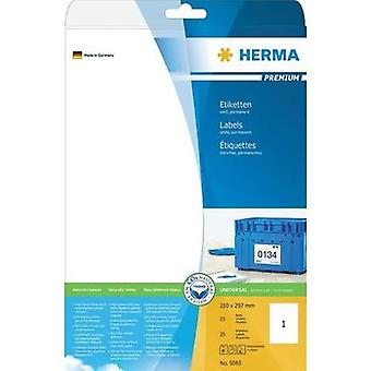 Herma 5065 Labels (A4) 210 x 297 mm Paper White 25 pc(s) Permanent All-purpose labels, Shipping labels Inkjet, Laser, Co