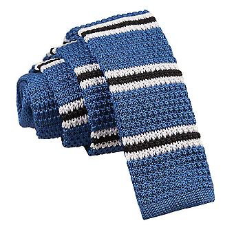 Knitted Blue with Black & White Thin Stripe Tie