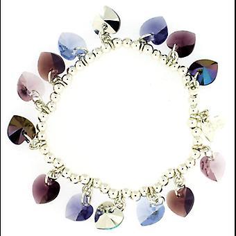 Kleshna Swarovski Crystal Candy Hearts Charm Bracelet in Amethyst Purple
