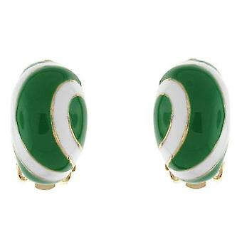 Clip On Earrings Store Green and White Enamel Lollipop Semi Hoop Clip on Earring