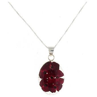 Hurlant de violette en argent Sterling pendentif ovale de fleur de coquelicot rouge