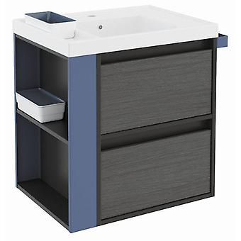Bath+ Sink cabinet 2 drawers Front Resin Anthracite-Blue Slate-60