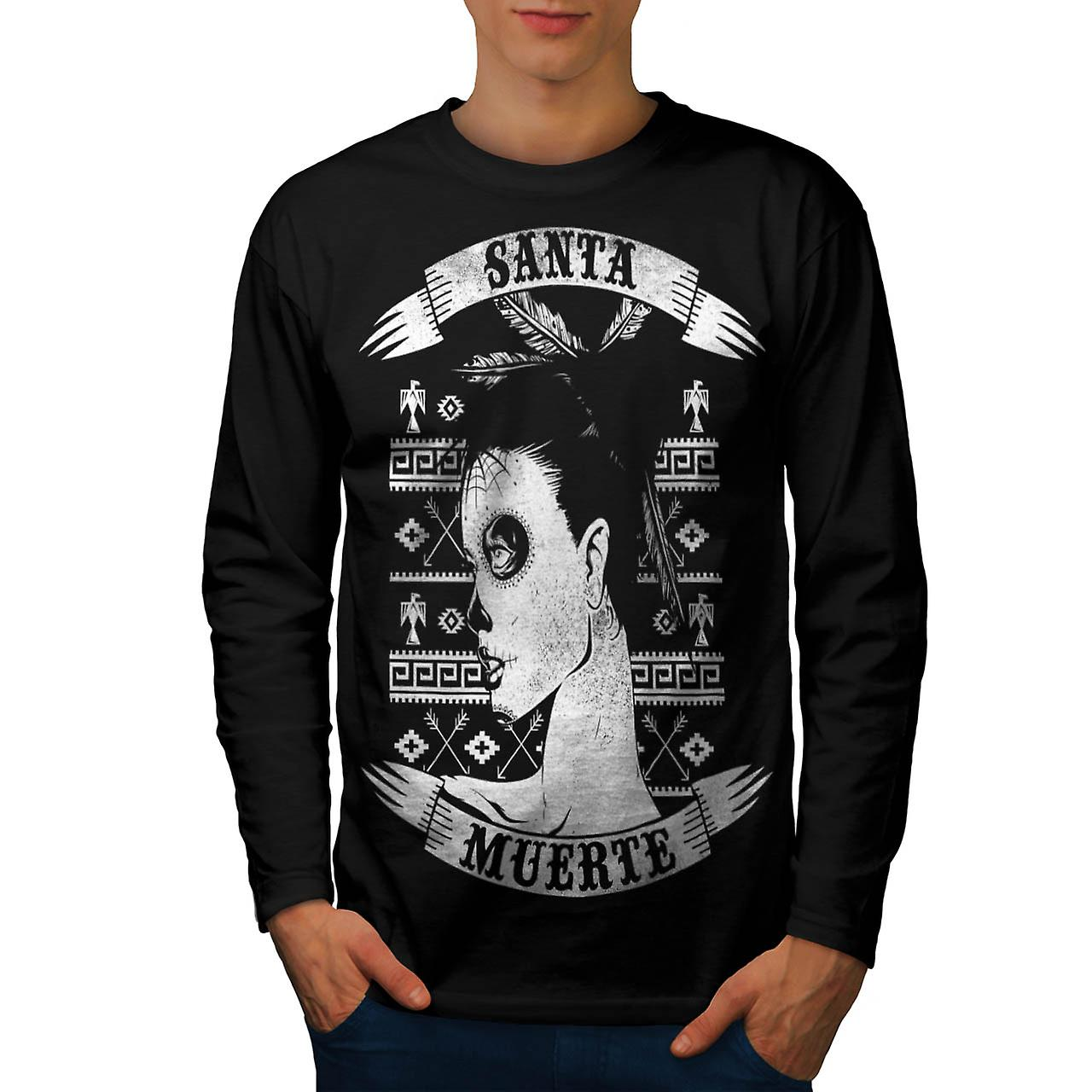 Holy Death Dead Woman Aztec Girl Men Black Long Sleeve T-shirt | Wellcoda