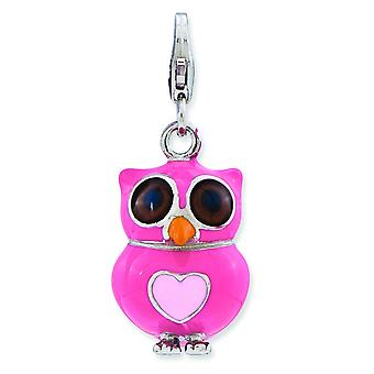 Sterling Silver Rhodium-plated Fancy Lobster Closure Enameled 3-d Heart Owl With Lobster Clasp Charm