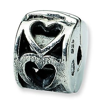Sterling Silver Hinged Polished Antique finish Reflections Kids Heart Clip Bead Charm