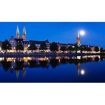 Holstenhafen on the River Untertrave with St Marys Church and Petri Church Lubeck Schleswig-Holstein Germany Poster Print