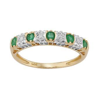 9ct amarelo ouro 0,27 ct Esmeralda Natural & 2pt diamante anel meia banda de eternidade