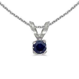 10k White Gold Round Sapphire Pendant with 16