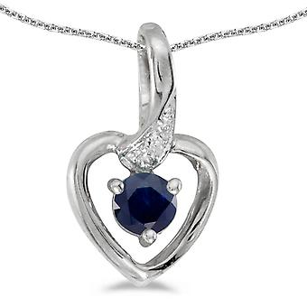 10k White Gold Round Sapphire And Diamond Heart Pendant with 18