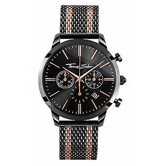 Thomas Sabo Mens Rebel Spirit Chronograph Rose Gold Black WA0289-285-203-42 Watch