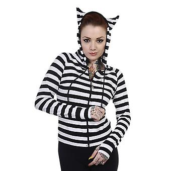 Dancing Days Black & White Cat Ears Striped Hoodie L