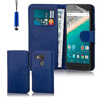 Book wallet case + stylus for Google Nexus 5X (2015) - Deep Blue