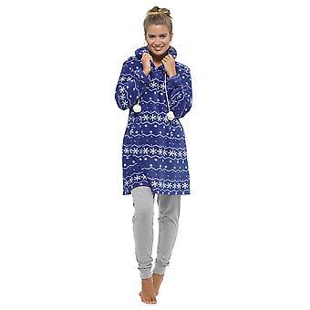 Ladies Tom Franks Fairisle Snow Print Coral Fleece Nightdress Nighty Sleepwear