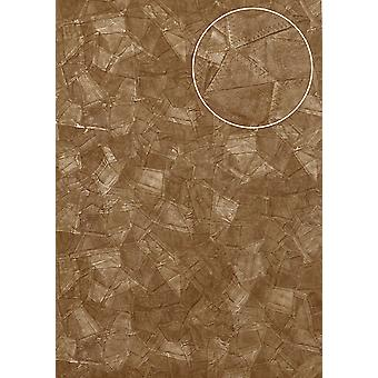 Embossed wallpaper Atlas STI-5102-4 non-woven wallpaper shimmering embossed leather look Brown grey beige pale brown olive brown 7,035 m2