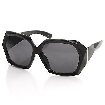 Geïnspireerd Womens ontwerpermanier vet Faceted Detail Oversized zonnebril