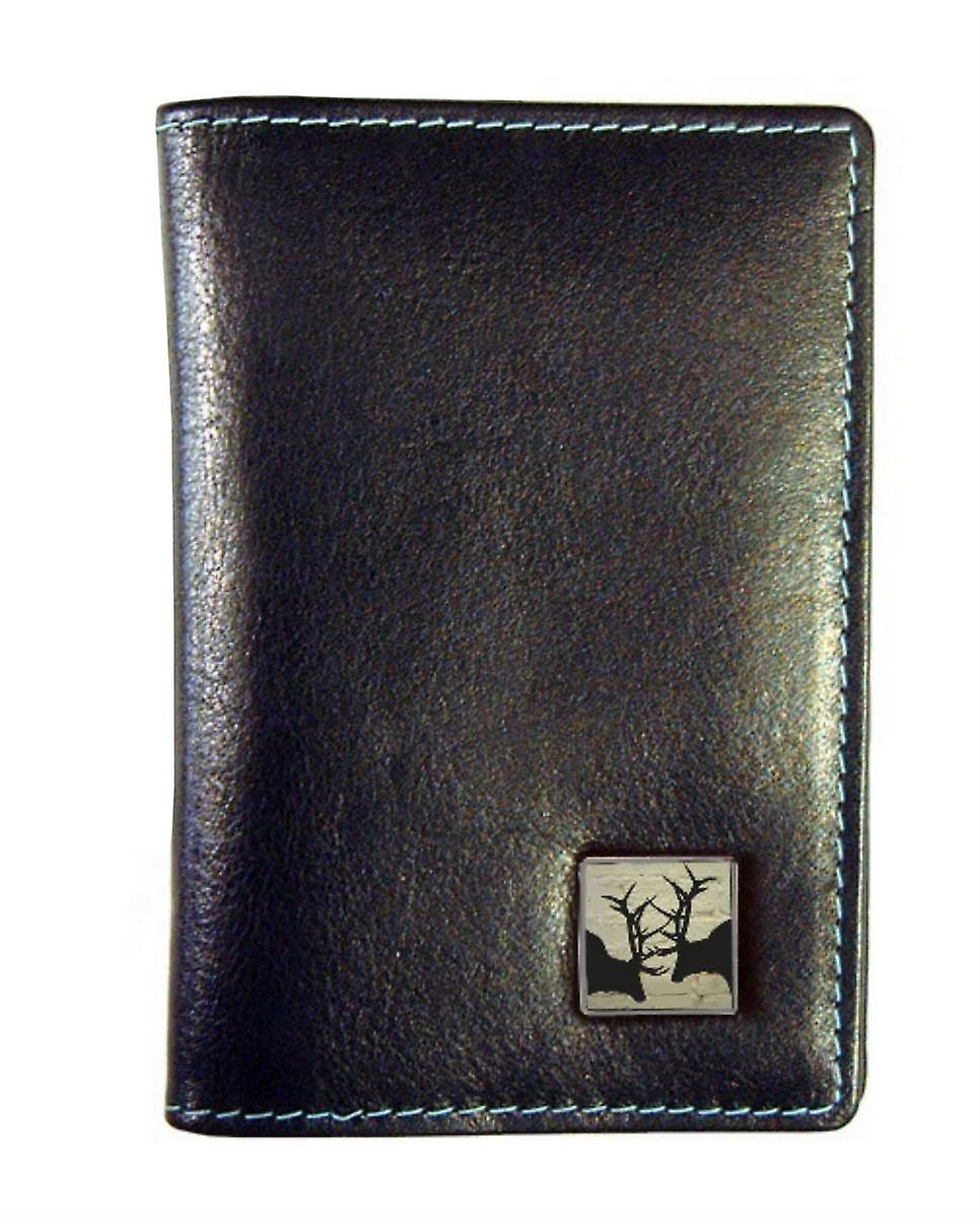 Tyler and Tyler Leather Rutting Stags Travel Card Holder  - Black