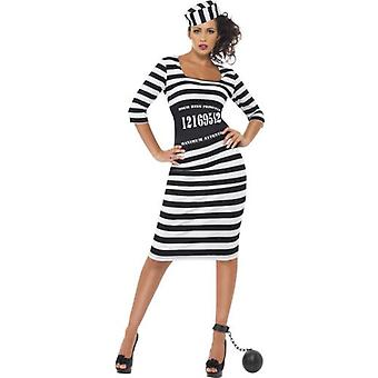 Smiffys Classy Convict Costume Black & White  Dress Waist Cincher And Hat (Costumes)