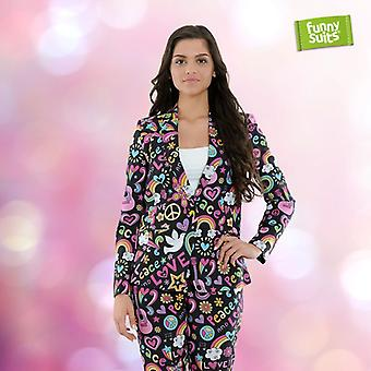 Dark hippie ladies suit flower power 60s 2 piece suit costume deluxe EU SIZES