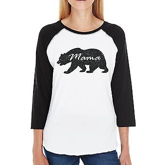 Mama Bear Womens 3/4 Sleeve nero camicia Raglan regalo per le neomamme
