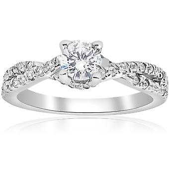 3 / 4ct diamant Infinity engagemang Twist Ring 14K vitt guld