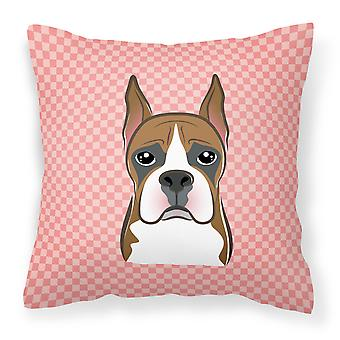 Checkerboard Pink Boxer Canvas Fabric Decorative Pillow