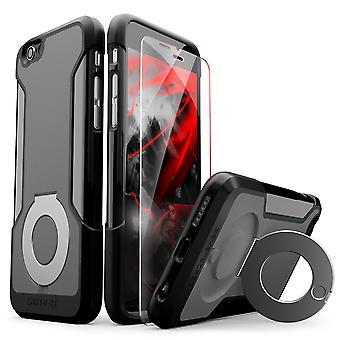 SaharaCase® iPhone 6/6s niebla gris caja, pie de apoyo protector Kit paquete con ZeroDamage® vidrio templado