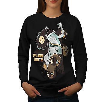 Jouer Skate Nice Fashion femmes BlackSweatshirt | Wellcoda