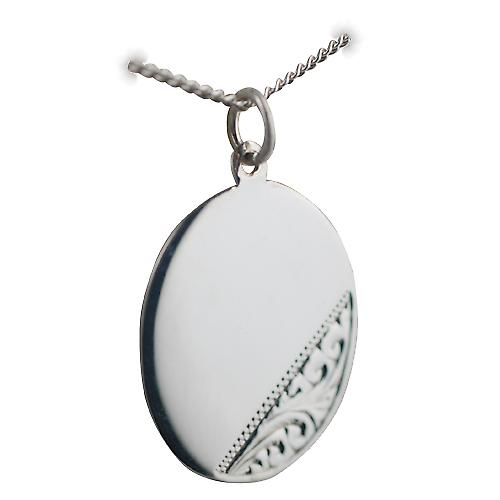 Silver 27x21mm hand engraved oval Disc with a curb Chain 18 inches