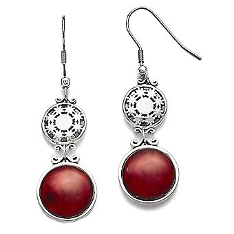 Stainless Steel Snowflake Round Red Glass Dangle Earrings