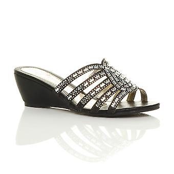Niskie średnie klina pięty diamante strappy wieczorem sandały Klapki damskie Ajvani
