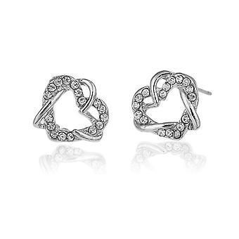 Womens Silver Double Heart Jewellery Earrings