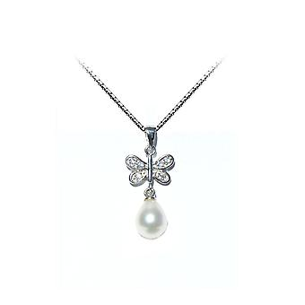 Pendant woman Butterfly culture of Freshwater Pearl and Silver 925/1000