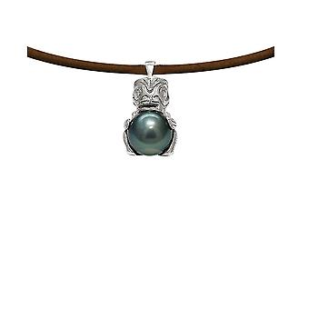 Necklace Tribal man leather, Tahitian black pearl and Silver 925/1000