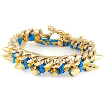 Ettika - Bracelet in yellow gold Spikes and cotton ribbons braided blue