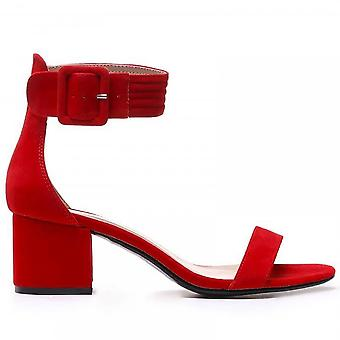 Shoe Closet Ladies FRR23 Red Low Heeled Ankle Strap Peep Toes Strappy Sandals Heels