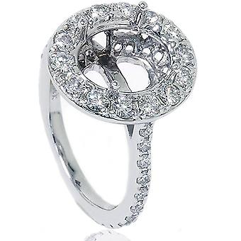 VS 1ct Pave Halo Oval Engagement Ring Setting 14K White Gold