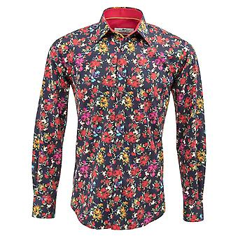 Claudio Lugli Navy Rose Print Mens Shirt
