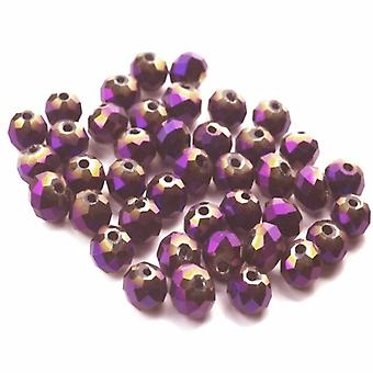 Strand 70+ Purple/Metallic Czech Crystal Glass 8mm Faceted Round Beads GC3563-3