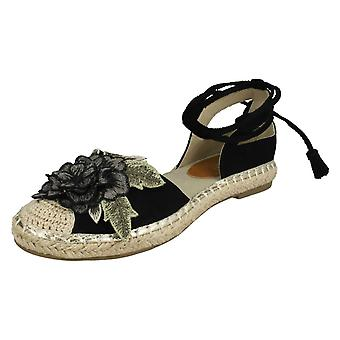 Ladies Spot On Ankle Tie Up Espadrilles F2263 - Black Microfibre - UK Size 5 - EU Size 38 - US Size 7