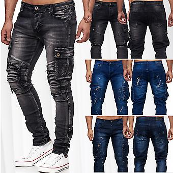 New Men's Biker Cargo Bags Jeans Pants Denim Slim Fit Ripped Destroyed
