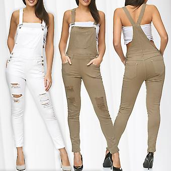 Ladies Dungarees Ripped Jeans Pants Stretch Skinny Tube Treggings Suspenders New