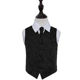 Black Floral Wedding Waistcoat & Cravat Set for Boys