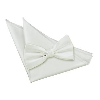 White Solid Check Bow Tie & Pocket Square Set