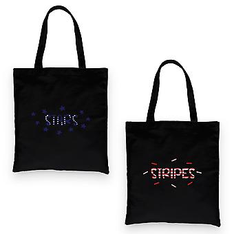 Stars And Stripes BFF Matching Canvas Bags Black Sister Birthday