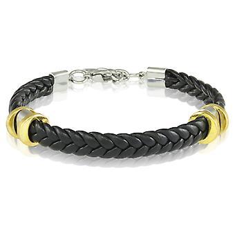 Skipper bracelet leather bracelet 21.5 cm black 7238 braided