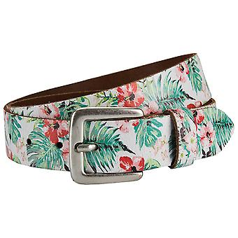 s.Oliver of colorful ladies leather belt with floral print 32.706.95.7100-6618
